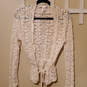 White House Black Market Cardigan Sweater White